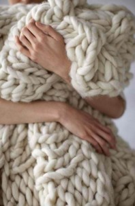Knitters hands Large knit blanket